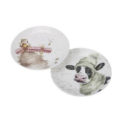 Wrendale Set Of 2 Cow & Duck Coupe Christmas Plates • 16.75£