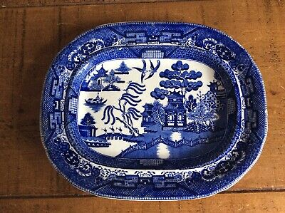 Antique Vintage Wedgewood  Blue & White Willow Pattern Oval Meat Platter/Plate • 34.99£