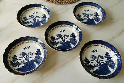 A Set Of 5 Vintage BOOTHS REAL OLD WILLOW Soup/Cereal Bowls 7 1/8  • 39.99£