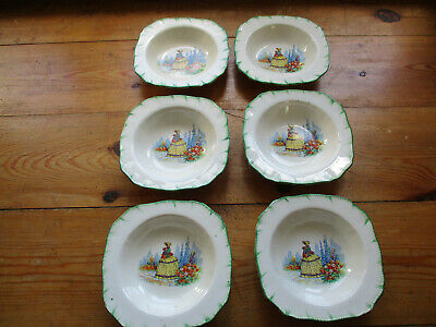 MEAKIN 1940's DISHES PAINTED CRINOLINE LADY - SET OF 6  • 9£