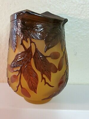 Leaf & Berries Cameo Glass Vase Signed Galle Made In France • 99.97£