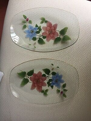 Vintage Retro 2 Clear Glass Floral Pattern Gold Rim Rectangular Serving Plates  • 11.99£