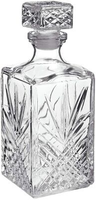 Bormioli 1 Litre Cut Glass Square Whisky Decanter • 10.50£