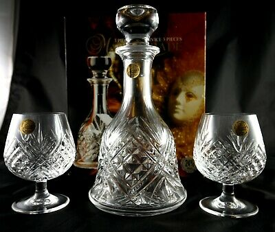 Lovely French Vintage Lead Crystal Spirit Decanter And 2 Glasses Boxed  Gift Set • 65£