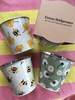 Emma Bridgewater Plant Pots Set Of 3 - Buttercups Buttercup Bee - New  • 16.50£