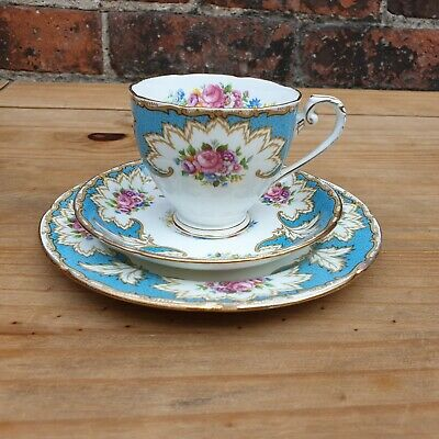 ROYAL GRAFTON ACADEMY Trio Blue & Roses Cup Saucer, Plate Vintage Fine China • 15£