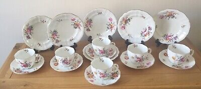 6 Royal Crown Derby Posies Trios - Tea Cups Saucers Side Plates-green Backstamp • 79.99£