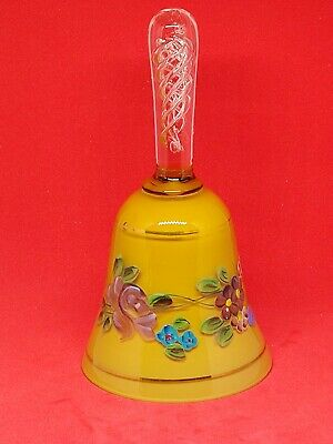 Vintage Hand Painted Milk Glass Bell With Air Twist Handle • 28£