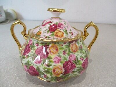 ROYAL ALBERT OLD COUNTRY ROSES CHINTZ  Sugar Bowl Pink Top New Unused Mint • 15£