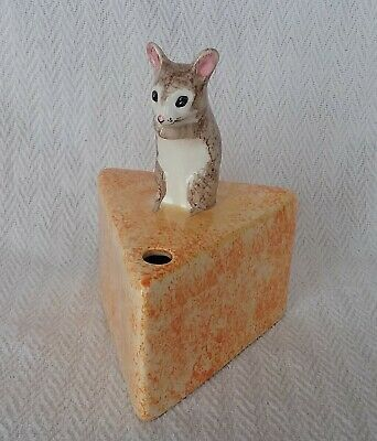 Vintage Raymond Babbacombe Pottery Mouse On Cheese Scissor/String Holder • 20£