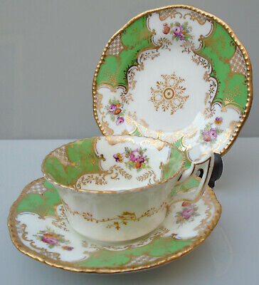 Early C20th Coalport Green Batwing Trio Cup Saucer And Plate • 55£