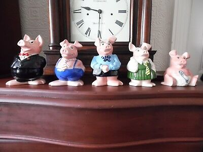 Full Set Of 5 Wade Natwest Bank Pigs No Faults Chips Etc All With Rubber Stopper • 85£