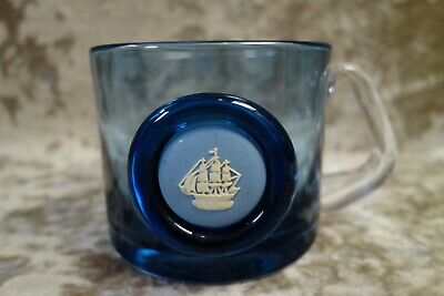 Wedgwood Blue Glass Tankard With Jasperware Plaque Of A Ship – Good Cond. • 18£