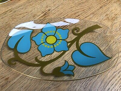 Retro/vintage 1960s 1970s Chance Glass Trinket Dish Turquoise Yellow Flowers • 9£
