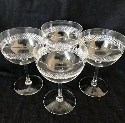EXQUISITE EDWARDIAN CRYSTAL CHAMPAGNE SAUCERS/COUPES Set Of 4 C1910 • 120£
