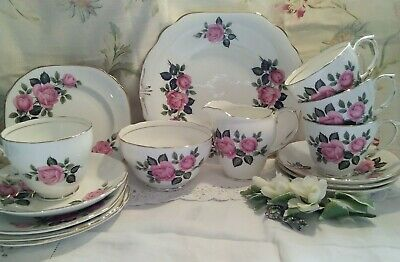 15 Piece Royal Grafton Vintage Tea Set, Cups/Saucers/Side Plates, Pink Roses • 29.99£
