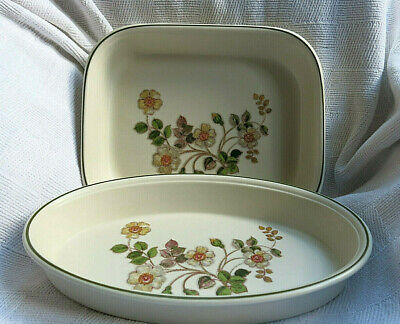 M & S ~ AUTUMN LEAVES ~ 2 X  BAKING OVEN DISHES - 11  OBLONG & 12  OVAL VGC  • 17.99£