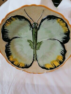 Vintage Art Deco Hancocks Ivory Ware, Hand Painted Butterfly Plate 21.5cm • 25£