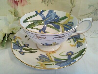 Vintage Aynsley Cabinet  Tea Cup And Saucer, Blue, Floral, Iris, April • 18.99£