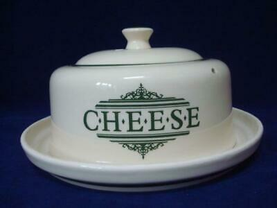 The 1869 Victorian Pottery Large Lidded Cheese Dome & Underplate - Green • 20£