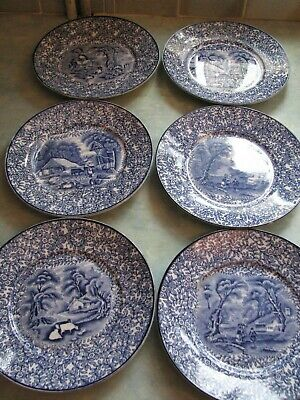 6 X J Kent Fenton Ye Olde Foley Ware Blue And White SMALL PLATE 7 Inches Diamete • 4.99£