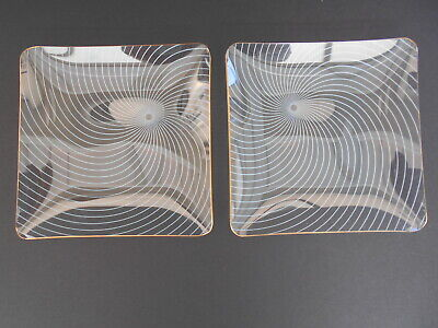 1950's Vintage Chance Glass Atomic Swirl Pair Of Trays. • 9.99£
