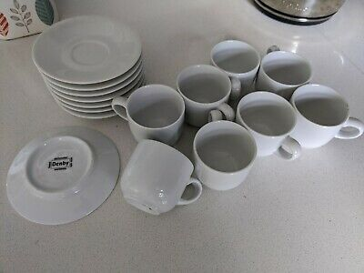 8 Denby White Espresso Cups And Saucers • 15£