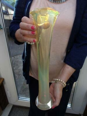Tall Studio Glass Vase Vaseline Not Sure Of Age  14.5  (37cm) Lovley Condition • 4.20£