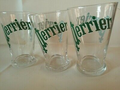 Set Of 3 X Glass Perrier Extraordinaire Water Glasses Excellent Condition In UK • 12£