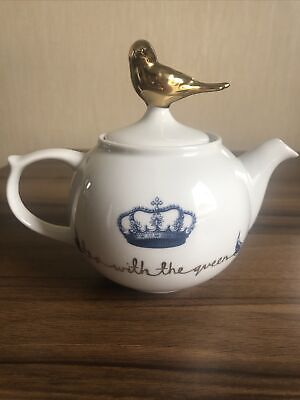 M&S Birdsong Teapot' Tea With The Queen 'With Gold Coloured Bird Topper • 3.99£