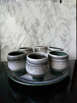 Vintage Celtic Pottery Set Of 6 Goblets & Tray Green/Gray Newlyn Cornwall • 20£