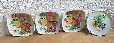 4x Rosenthal Bjorn Wiinblad Plate Square Round Height Approx. 11cm Plates • 59.90£