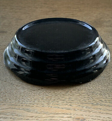 Art Deco Small Medium Round Black Glass Plinth Or Base - Made In England • 6.95£