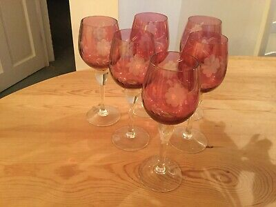 Cranberry Glass Wine Glasses • 7£
