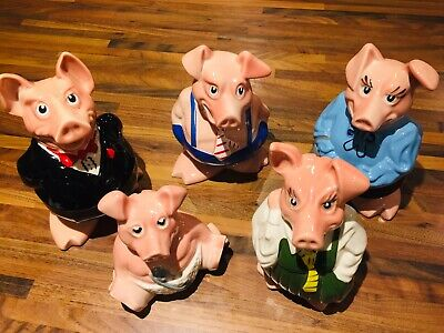 Wade Full Set Natwest Pigs, With Original Stoppers • 36£