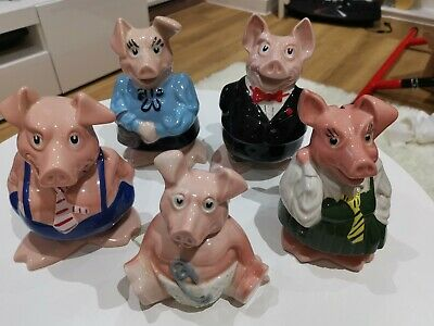 Set  5 Vintage Wade Nat West Pigs Pottery Moneybox With Sir Nathaniel & Stoppers • 65£