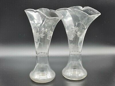 Antique Edwardian Clear Etched Glass Vase Pair • 65£