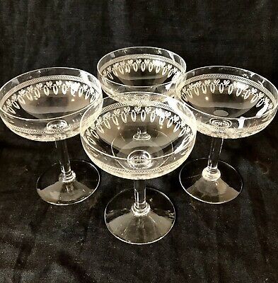 FABULOUS EDWARDIAN CRYSTAL CHAMPAGNE SAUCERS/COUPES SET Of 4 Vintage C1910 • 150£