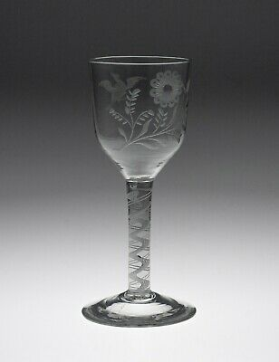 Antique Georgian Opaque Twist Stem Wine Glass Goblet With Jacobite Symbology • 465£