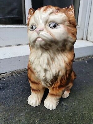 Vintage Melba Ware Pottery England Sitting Ginger Cat Figure Figurine (a) • 24.95£
