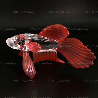 RARE Retired Swarovski Crystal Siamese Fighting Fish Red 660941 Mint UNBOXED • 36£