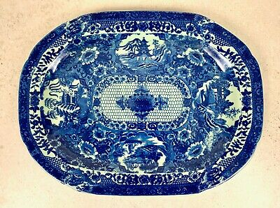 Victoria Ware Ironstone Blue & White Meat Platter • 44.17£