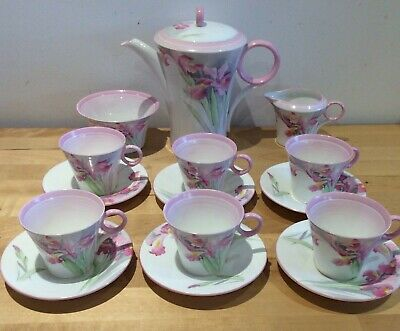 Extremely Rare Shelley  Coffee Set In Pink  Iris Pattern No12383 Stunning Set • 499.99£