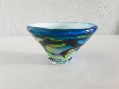 Adam Aaronson Studio Art Glass Bowl In Blue, Black & Lime Colour Signed & Dated • 45£