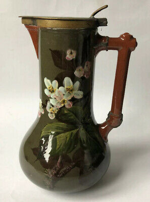 Super Art Pottery Pitcher -Watcombe - Old Soldered And Riveted Repair To Handle • 40£