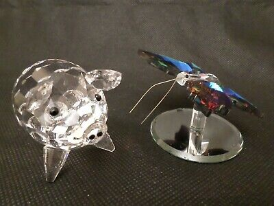 Pair Of Glass Items, Swarovski Pig 7638-065-000 & Coloured Butterfly • 9.95£