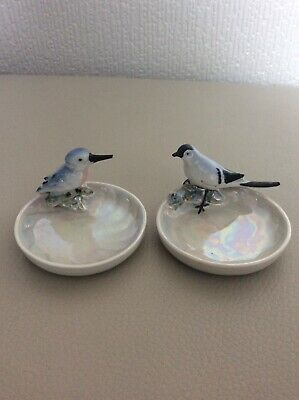 2 X Beautiful Bird - Vintage - Lustre Trinket Trays - Lovely Condition. • 5£
