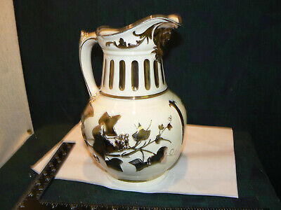Stunning  Silver Luster Grays Pottery Jug With Baccus Mask • 20£