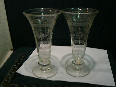 Stunning Pair Of Cut Glass Engraved Trumpet Vaseses , Edwardian Victorian  • 9.99£