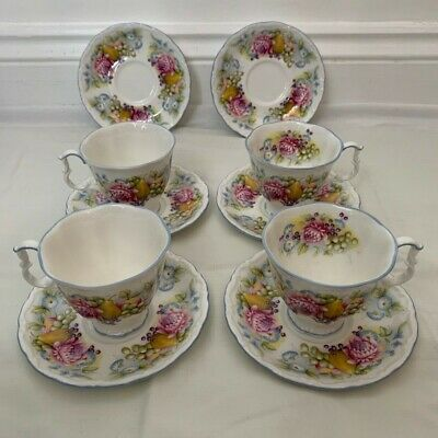 Royal Albert Summer Garland 4 Teacups And 6 Saucers • 30£